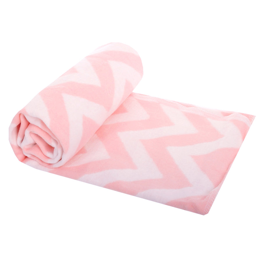 100% Cotton Flannelette Blanket, double-sided, 'ZIGZAG FLAMINGO' - Treasure Box