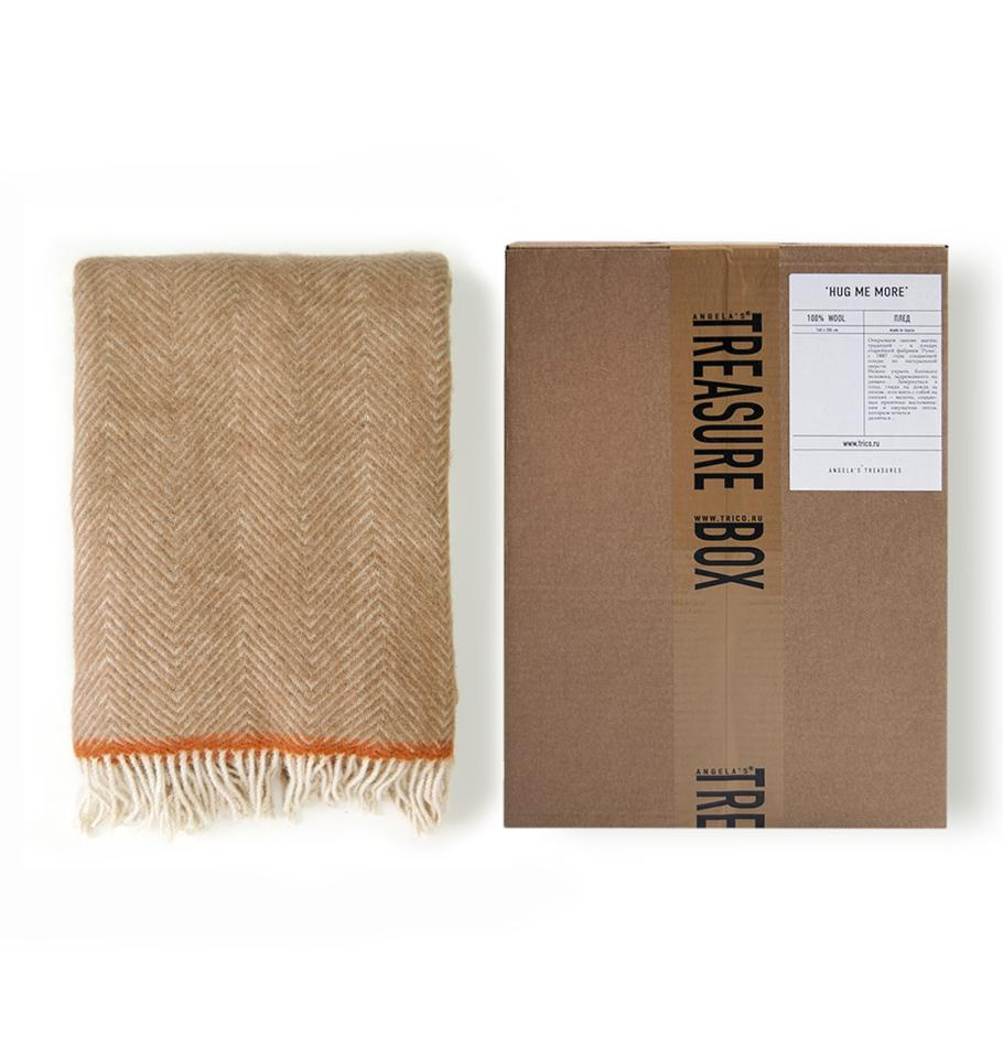 100% Lambs Wool Blanket, 140 x 200 cm, collection 'HUG ME MORE' by Runo, Russia, 1887 - Treasure Box