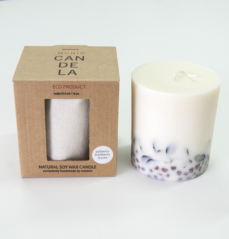 "Scented Soy Wax Candle, Ashberry & Bilberry Leaves, ""5 SENSES"", 515 ml - Treasure Box"