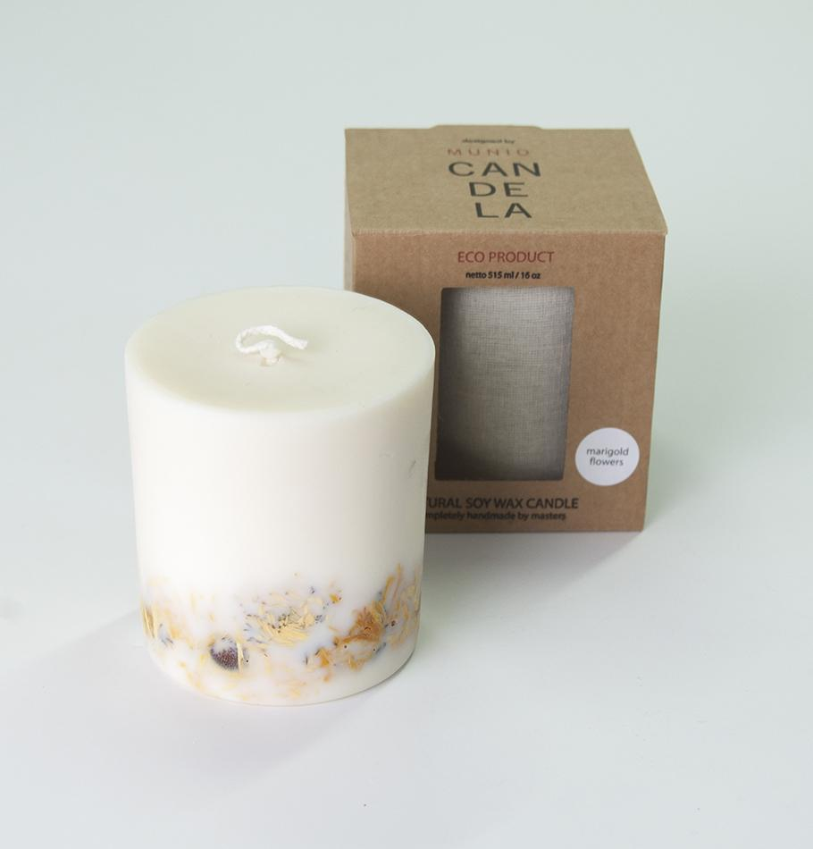 "Scented Soy Wax Candle, Marigold Flowers, ""5 SENSES"", 515 ml"