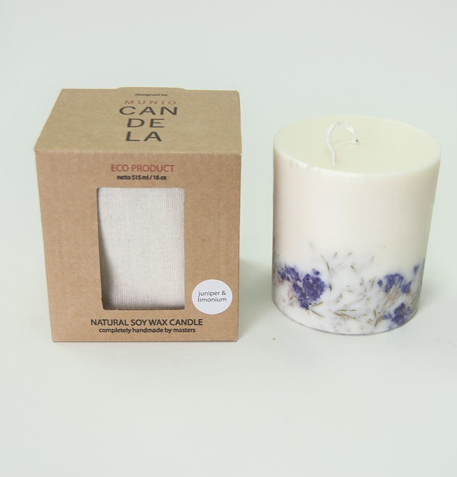 "Scented Soy Wax Candle, Juniper & Limonium,  ""5 SENSES"", 515 ml"