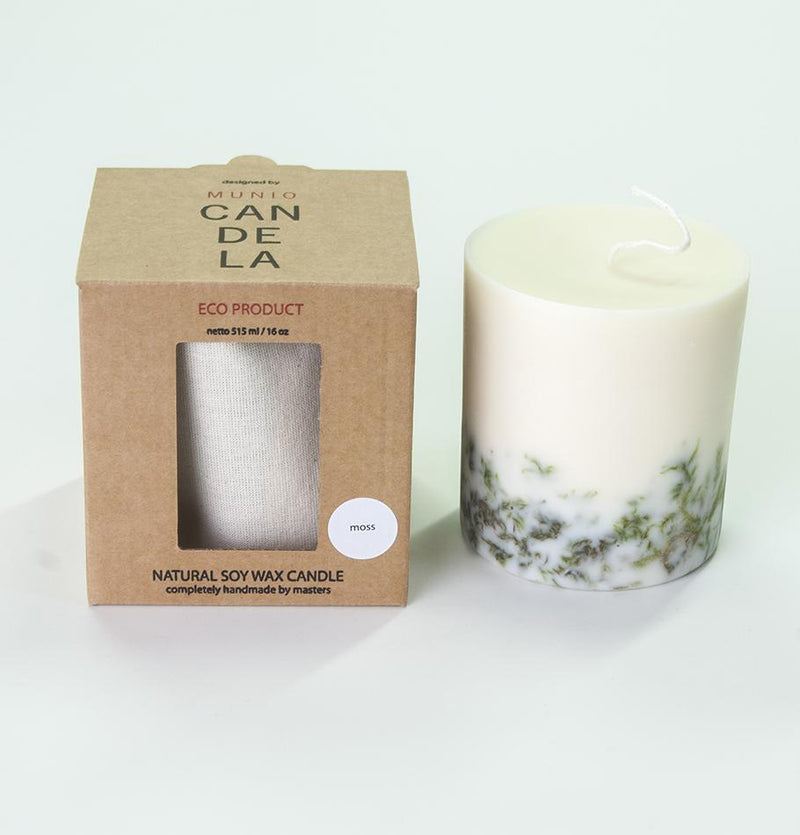"Scented Soy Wax Candle, Moss, ""5 SENSES"", 515 ml"