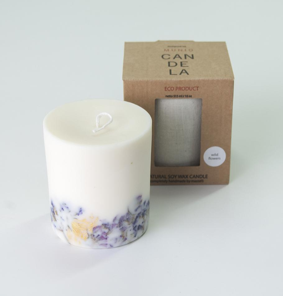 "Scented Soy Wax Candle, Wild Flowers, ""5 SENSES"", 515 ml"