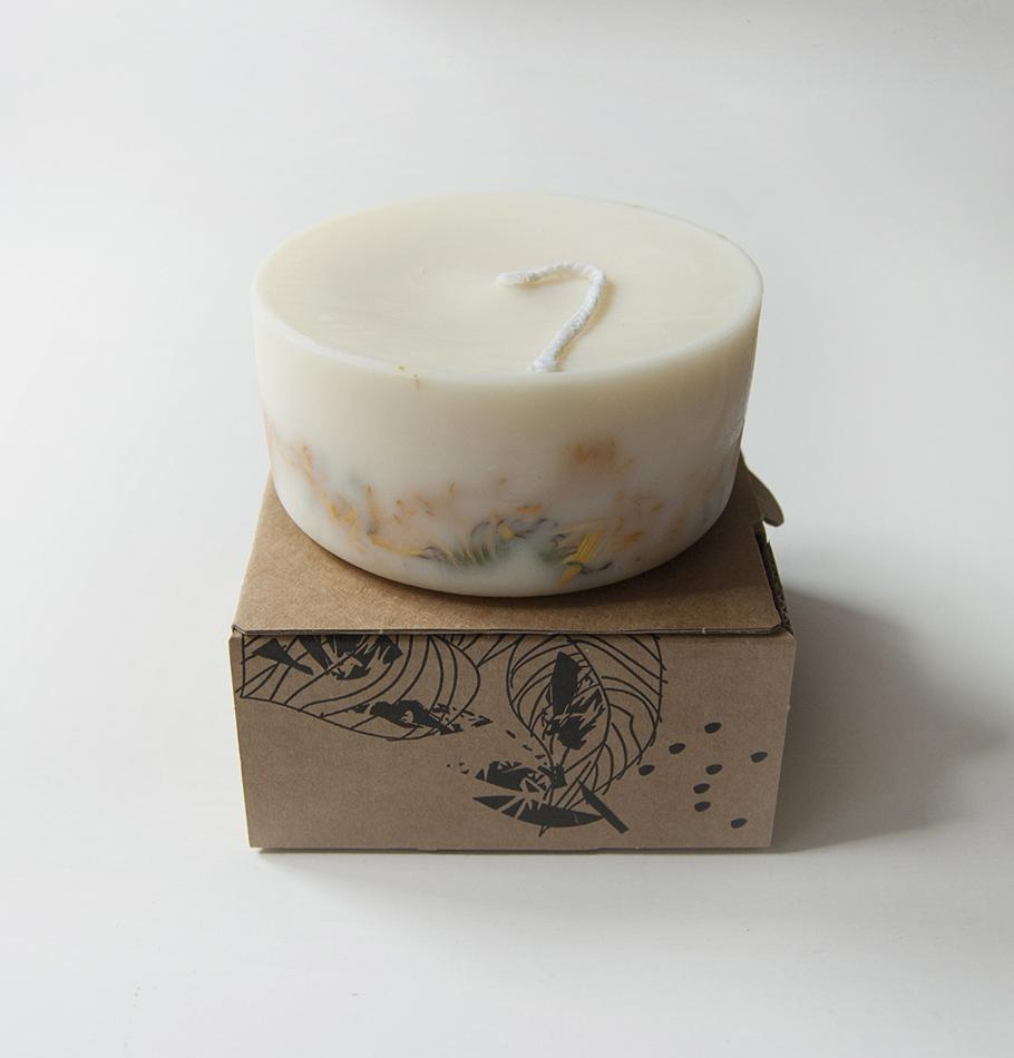 "Scented Soy Wax Candle, Marigold Flowers, ""5 SENSES"", 220 ml"