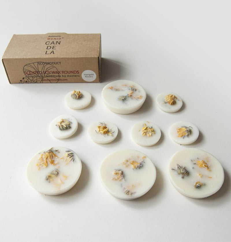 "Marigold Flowers, Scented Soy Wax Rounds ""5 SENSES"", 120 ml"