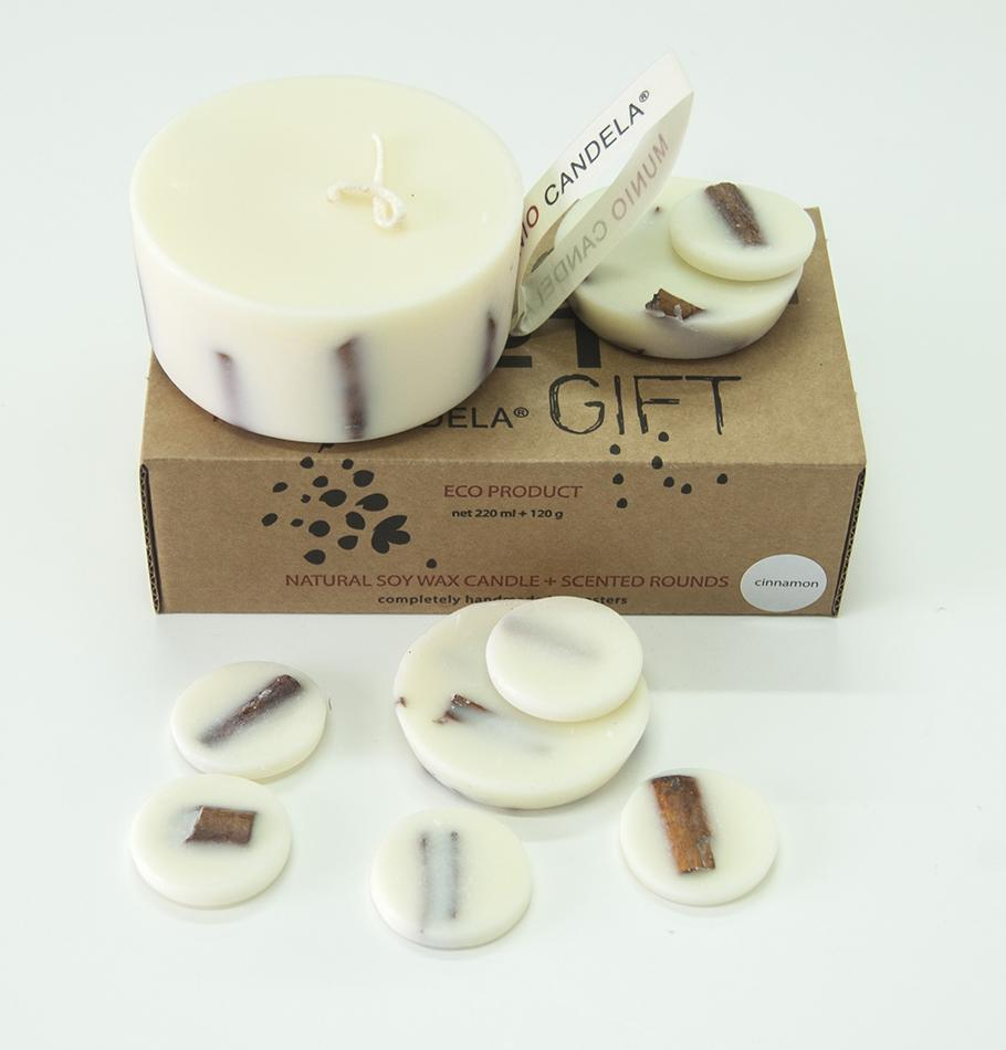 "Scented Soy Wax Candle + Scented Soy Wax Rounds, Cinnamon, Gift Box: ""5 SENSES"", 320 ml"