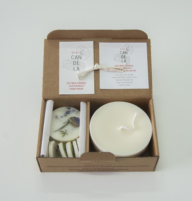 "Scented Soy Wax Candle + Scented Soy Wax Rounds, Juniper & Limonium, Gift Box:  ""5 SENSES"", 320 ml - Treasure Box"