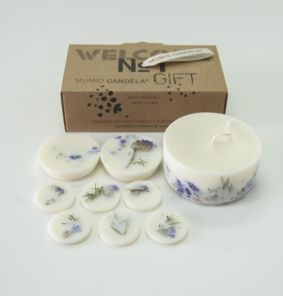 "Scented Soy Wax Candle + Scented Soy Wax Rounds, Juniper & Limonium, Gift Box: ""5 SENSES"", 320 ml"