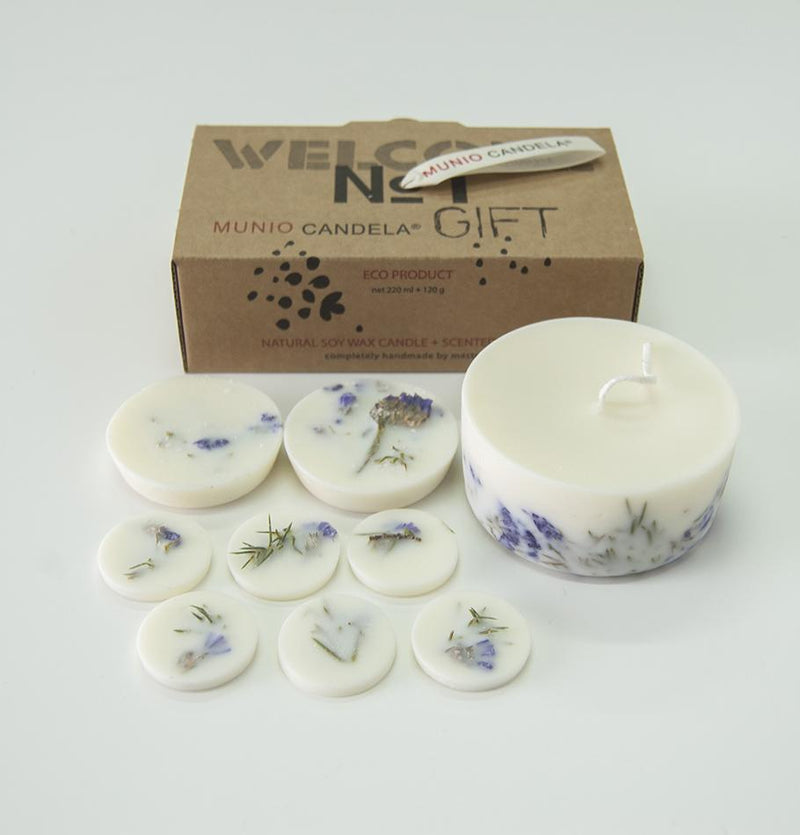 "Juniper & Limonium, Gift Box: Scented Soy Wax Candle + Scented Soy Wax Rounds ""5 SENSES"", 320 ml"