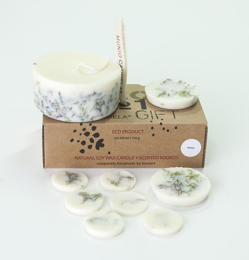 "Scented Soy Wax Candle + Scented Soy Wax Rounds, Moss, Gift Box:  ""5 SENSES"", 320 ml"