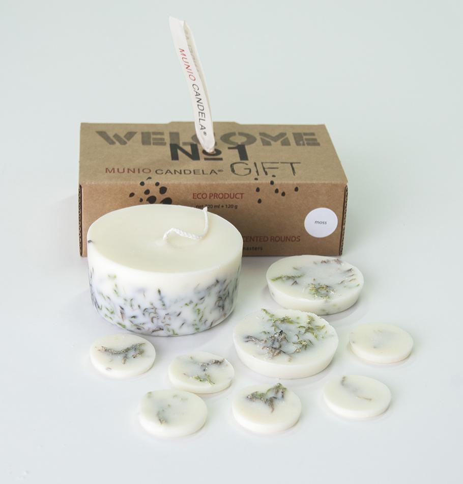 "Scented Soy Wax Candle + Scented Soy Wax Rounds, Moss, Gift Box: ""5 SENSES"", 320 мл"
