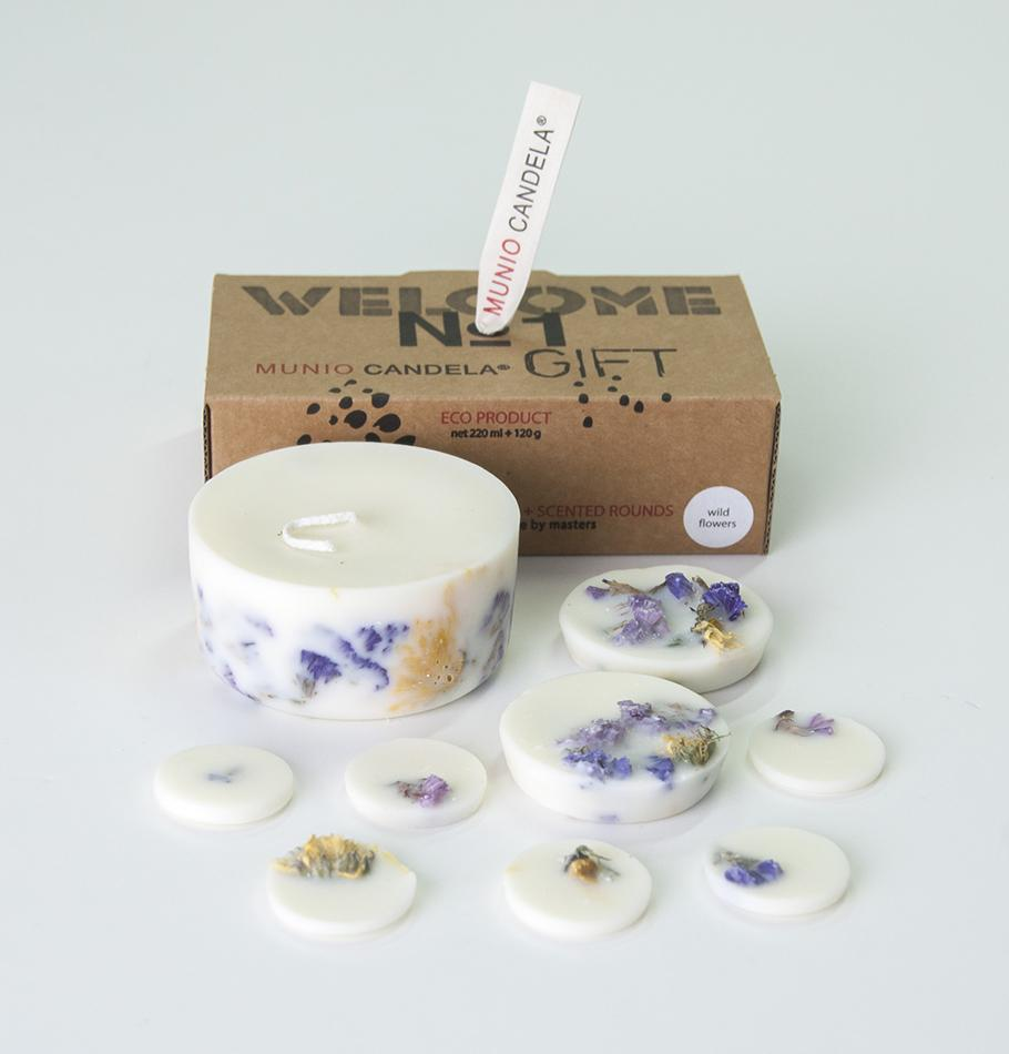 "Wild Flowers, Gift Box: Scented Soy Wax Candle + Scented Soy Wax Rounds ""5 SENSES"""