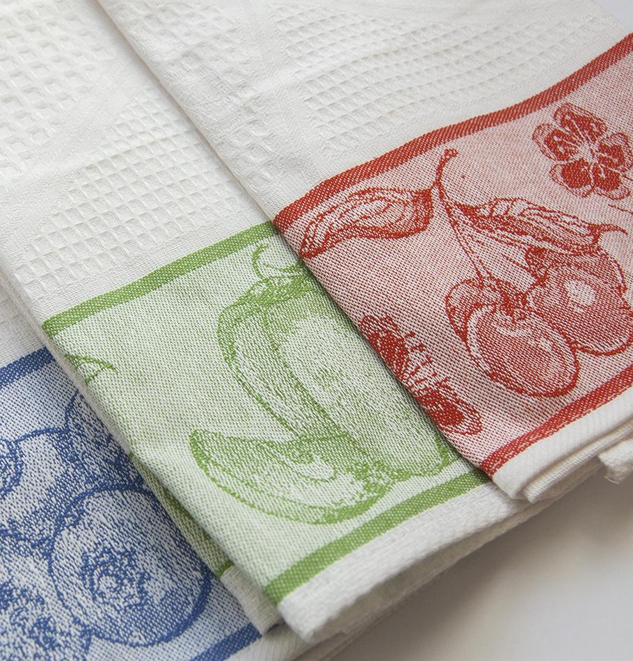 100% Cotton Jacquard Tea Towels double-sided 'TEA-PARTY', 3 pc