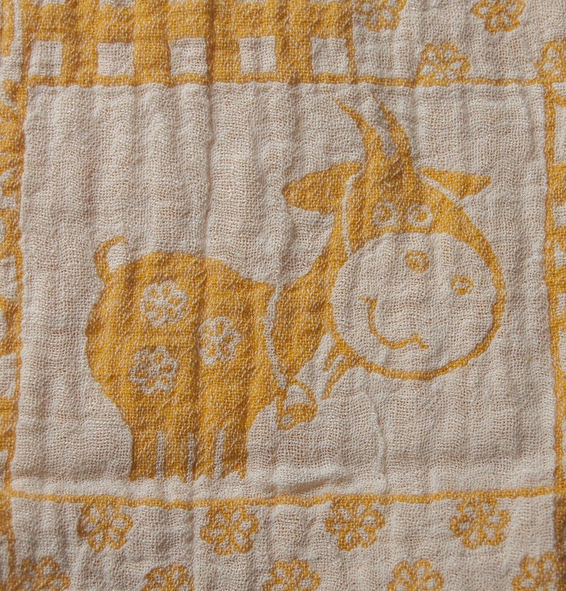 100% Softened Linen Blanket, Jacquard, double-sided, 150 x 130 cm 'LOVE YOU TO THE MOON'