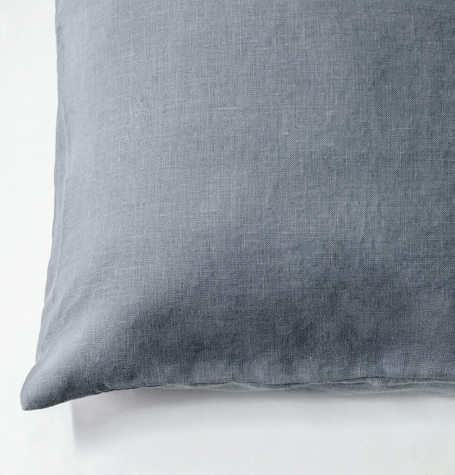 100% Softened Linen Pillowcases, 2 pc, 'ON THE MEADOW...', 50 cm x 70 cm, #1539 stone - Treasure Box