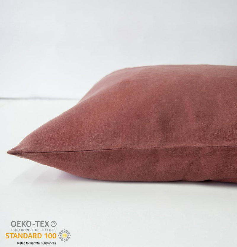 100% Softened Linen Pillowcases, 2 pc, 'ON THE MEADOW...', #1248 cinnamon - Treasure Box