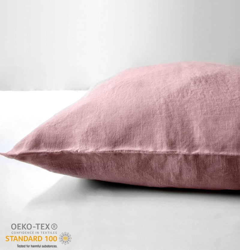 100% Softened Linen Pillowcases, 2 pc, 'ON THE MEADOW...', 70 cm x 70 cm, #1503 pink - Treasure Box