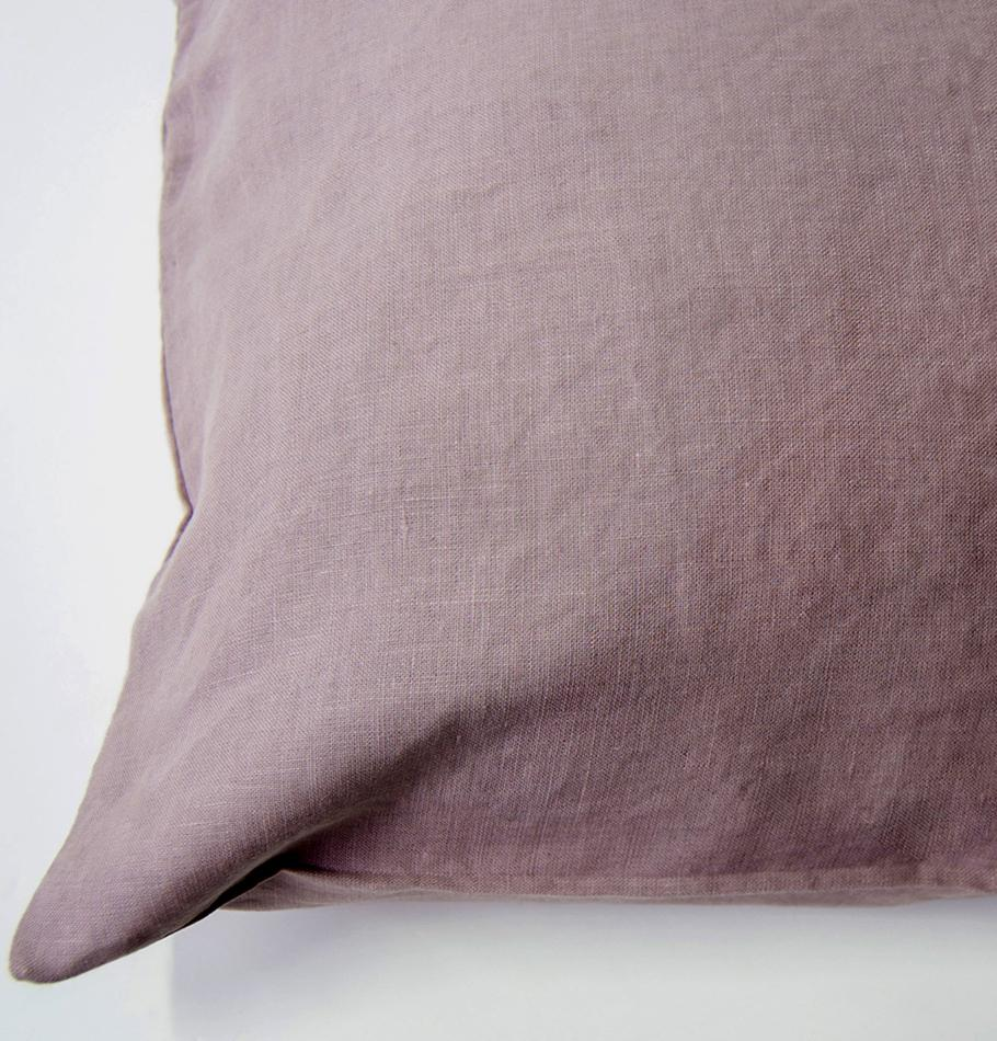 100% Softened Linen Pillowcases, 2 pc, 'ON THE MEADOW...', 50 cm x 70 cm, #1555 dusty rose