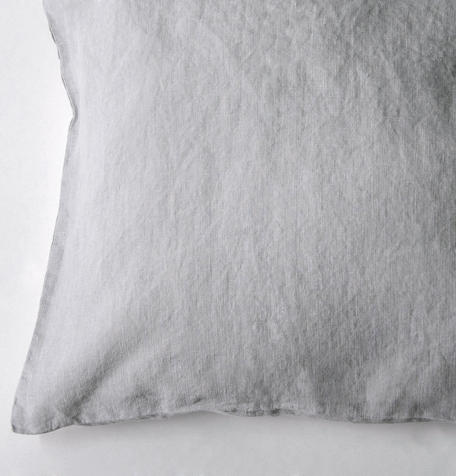 100% Softened Linen Pillowcases, 2 pc, 'ON THE MEADOW...', #530 sea cloud - Treasure Box