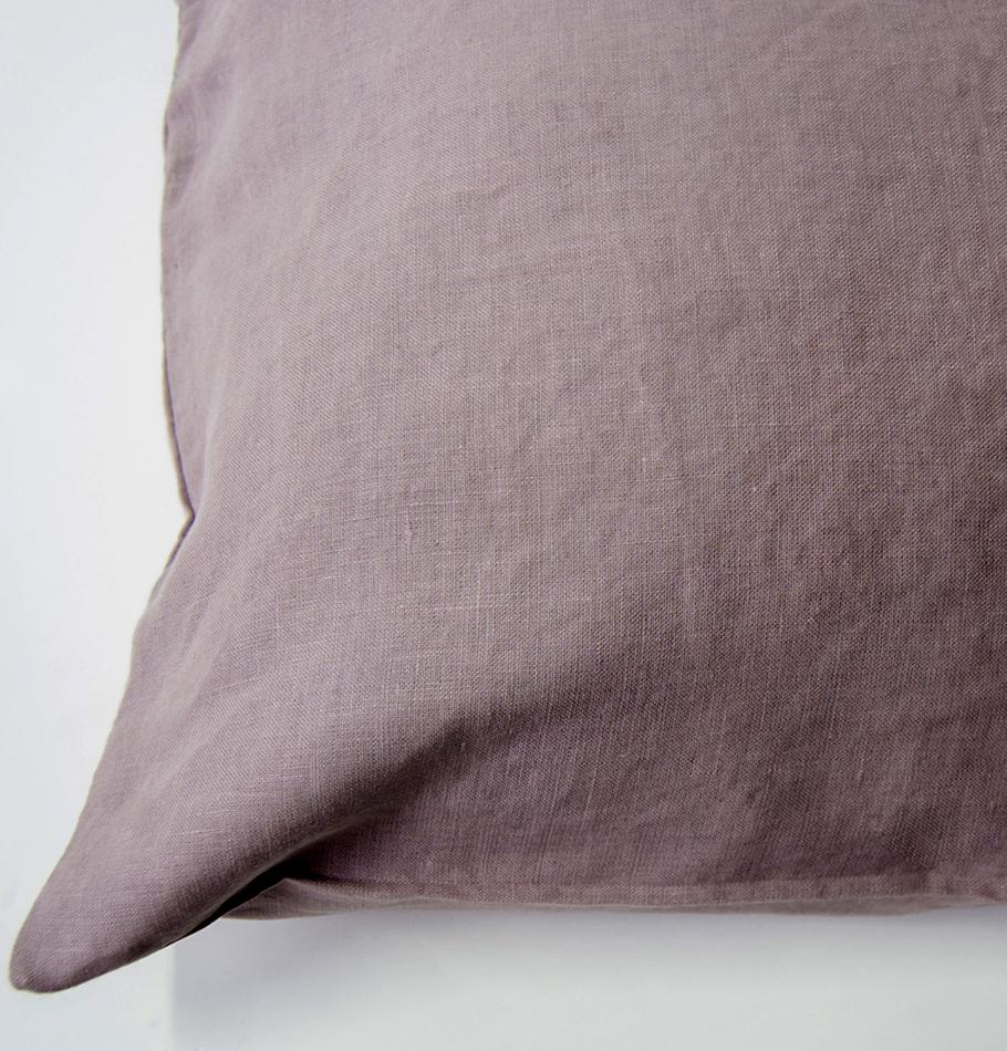 100% Softened Linen Pillowcases, 2 pc, 'ON THE MEADOW...', 50 cm x 70 cm, #987 antique rose