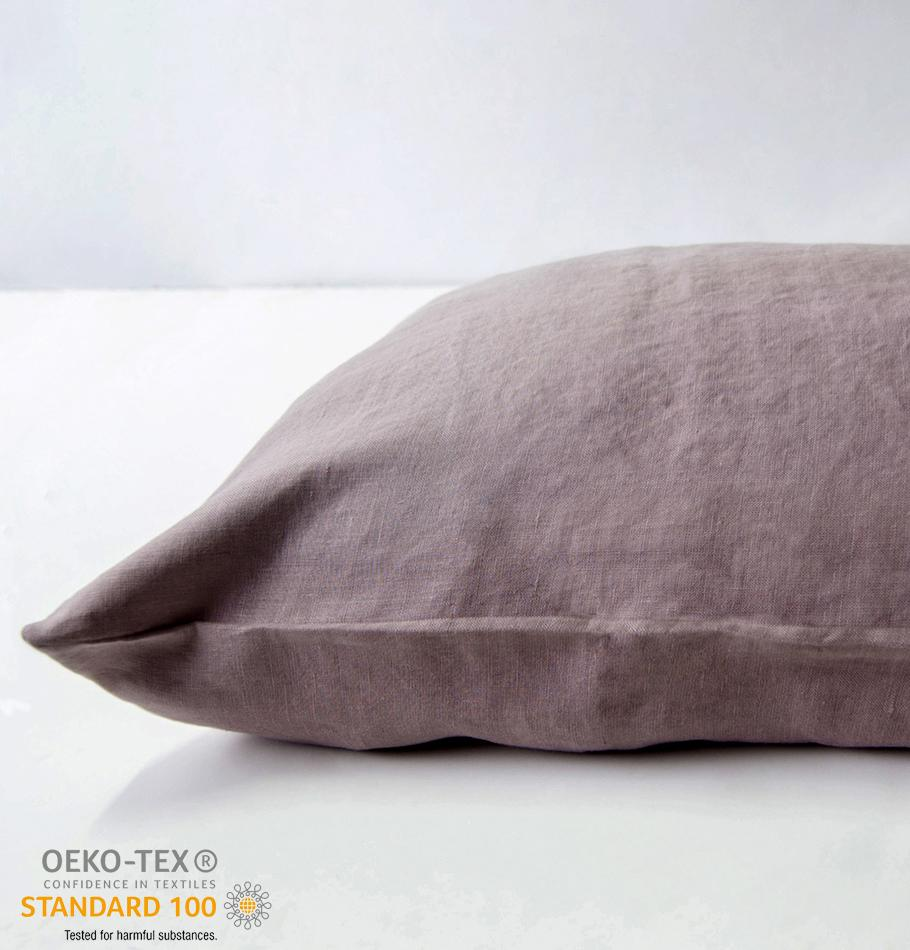 100% Softened Linen Pillowcases, 2 pc, 'ON THE MEADOW...', 50 cm x 70 cm, #987 antique rose - Treasure Box
