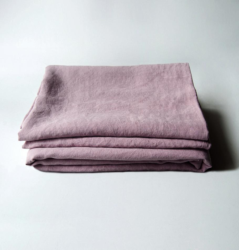 100% Softened Linen Flat Sheet 'ON THE MEADOW...', #1555 dusty rose - Treasure Box