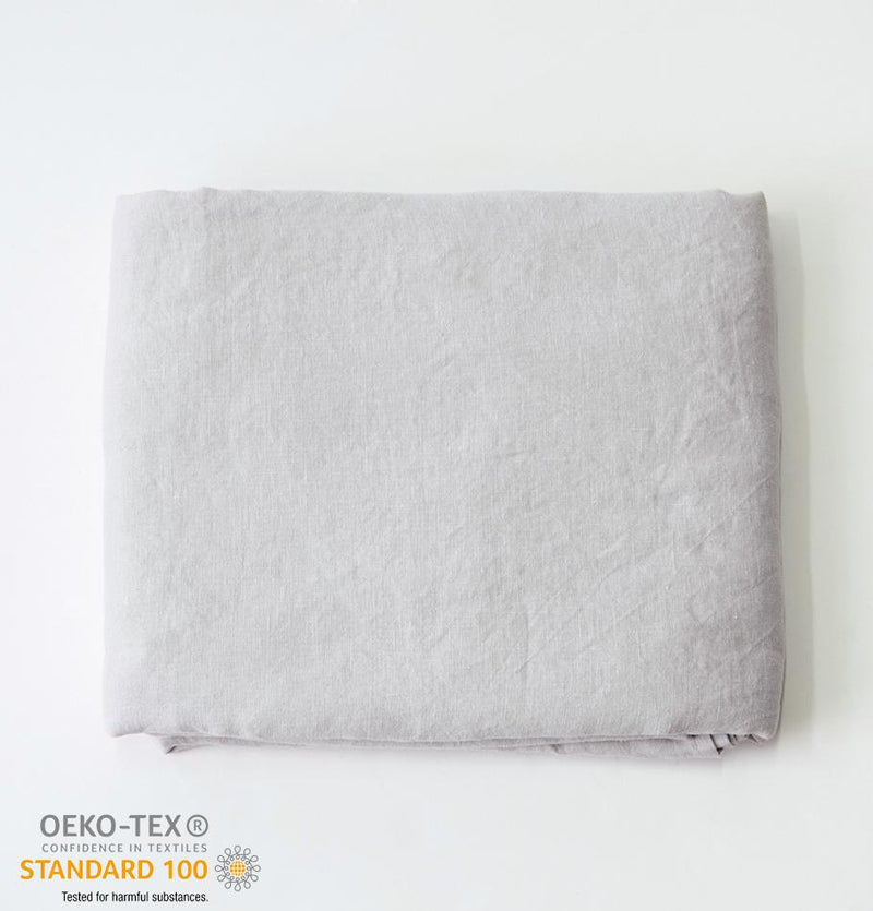 100% Softened Linen Flat Sheet 'ON THE MEADOW...', #530 sea cloud - Treasure Box