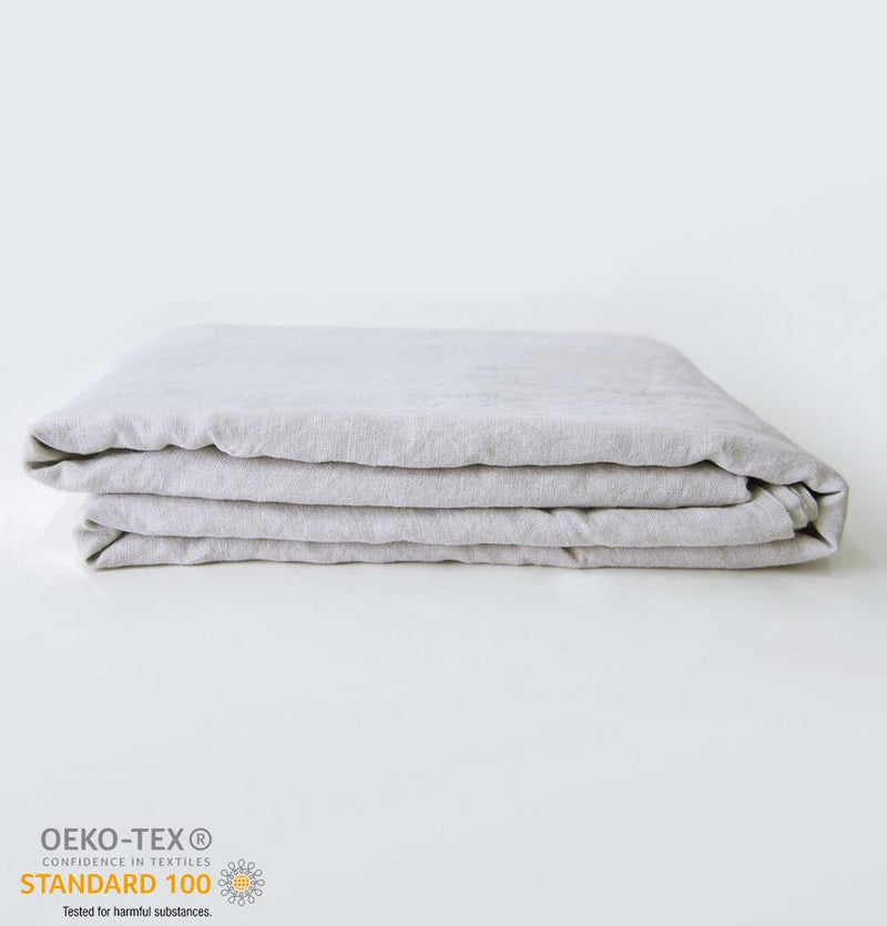 100% Softened Linen Flat Sheet 'ON THE MEADOW...', #530 sea cloud
