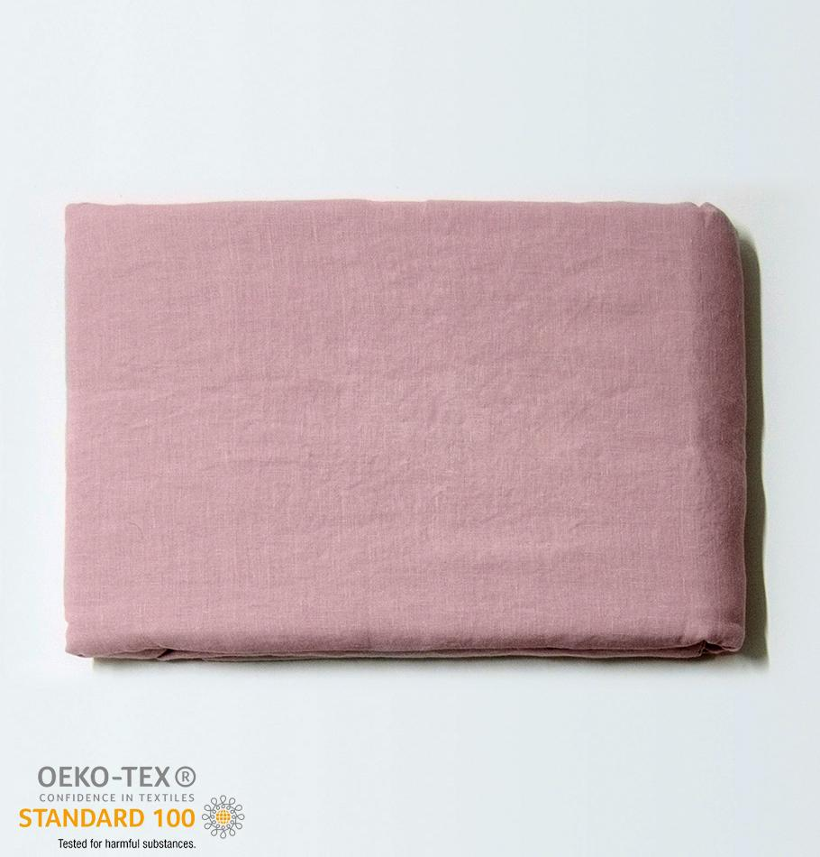 100% Softened Linen Duvet Cover 'ON THE MEADOW...', 153 cm x 215 cm, #1503 pink - Treasure Box