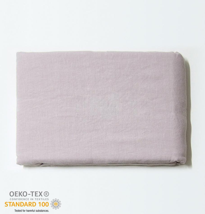 100% Softened Linen Flat Sheet 'ON THE MEADOW...', #320 misty rose