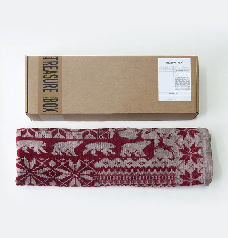 Linen Jacquard Blanket double-sided, 120 cm x 170 cm, 'SCANDI1' - Treasure Box