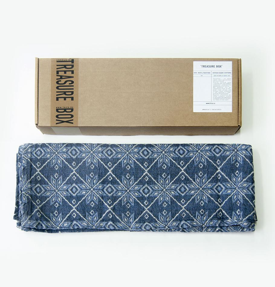 Linen Jacquard Blanket double-sided, 120 cm x 180 cm, 'SNOWFALL' - Treasure Box