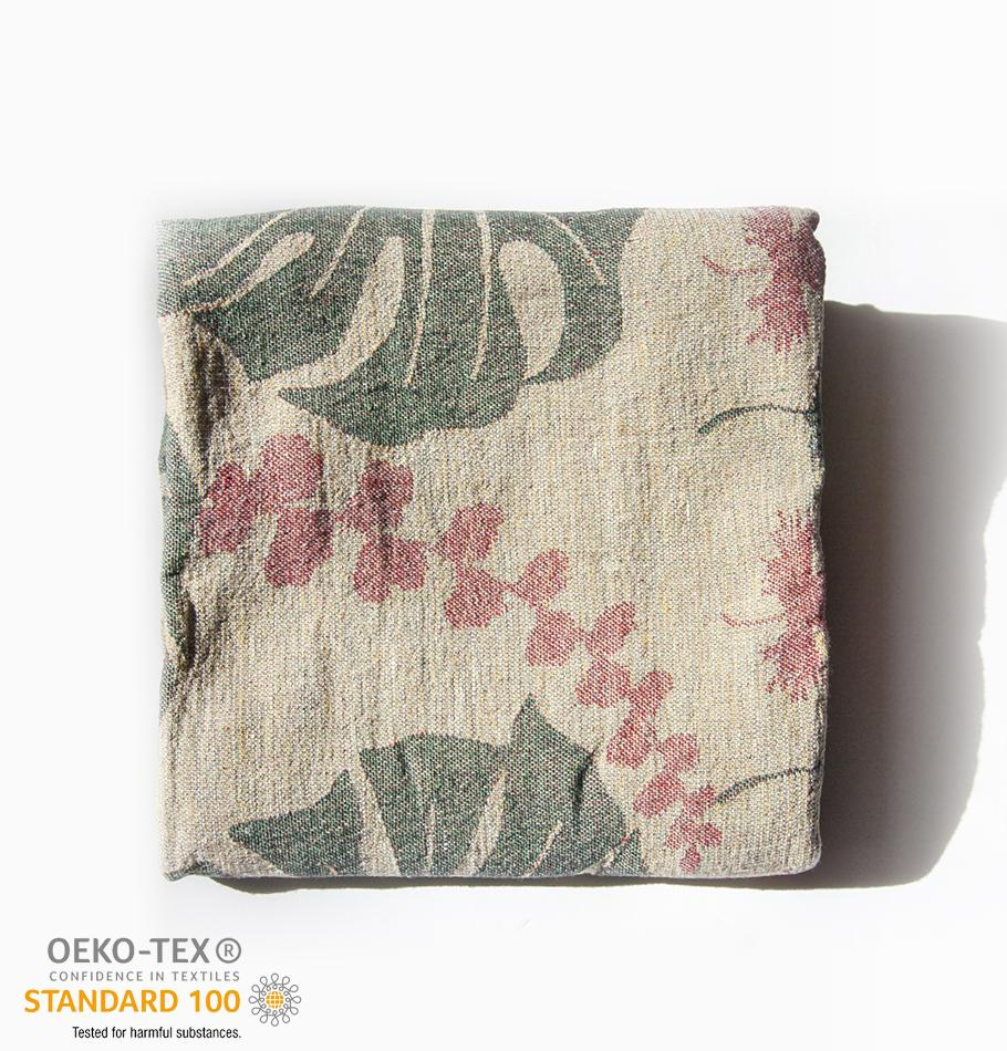 Softened Linen Throw Blanket, Jacquard, double-sided, 120 x 180 cm