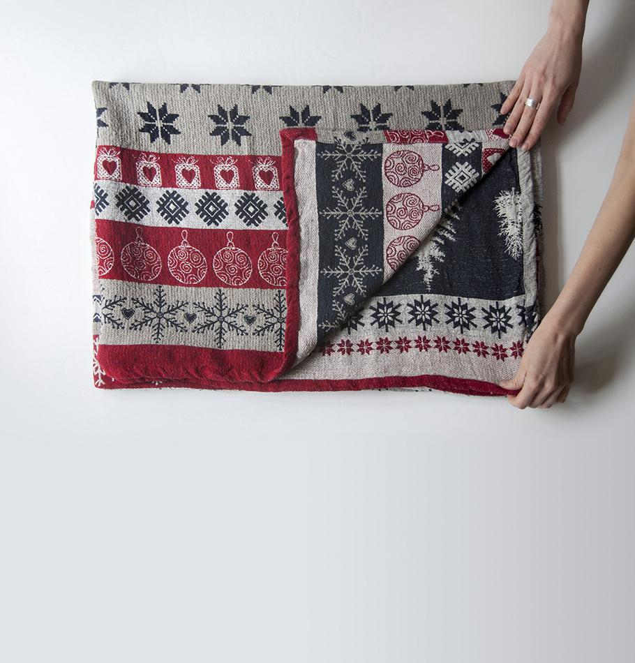 Blanket double-sided Washed Linen Jacquard , 120 cm x 170 cm, 'LAPLANDIA1'