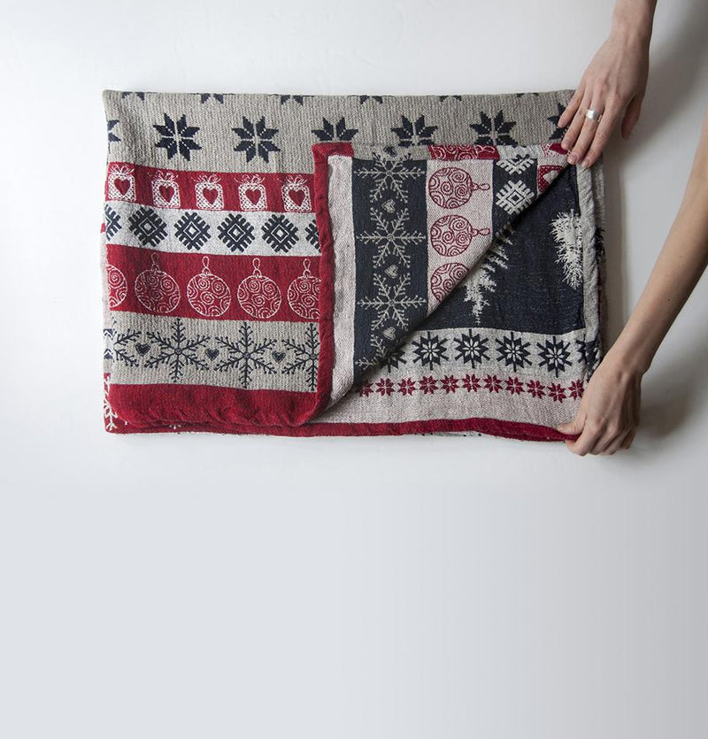 Blanket double-sided Softened Linen Jacquard , 120 cm x 180 cm, 'LAPLANDIA1' - Treasure Box