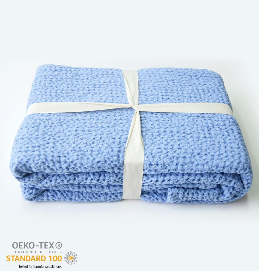 Linen + Cotton Oversized Waffle Weaved Throw Blanket, 160 cm x 180 cm, collection 'MERINGUE' - Treasure Box