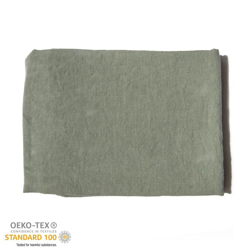 Copy of 100% Softened Linen Flat Sheet 'ON THE MEADOW...', forrest green 6 pc