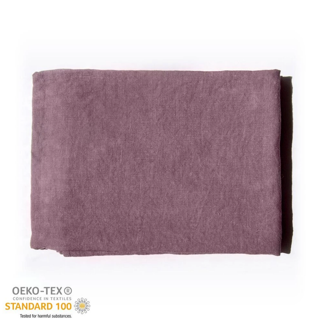 Copy of 100% Softened Linen Flat Sheet 'ON THE MEADOW...', dusty rose 6 pc