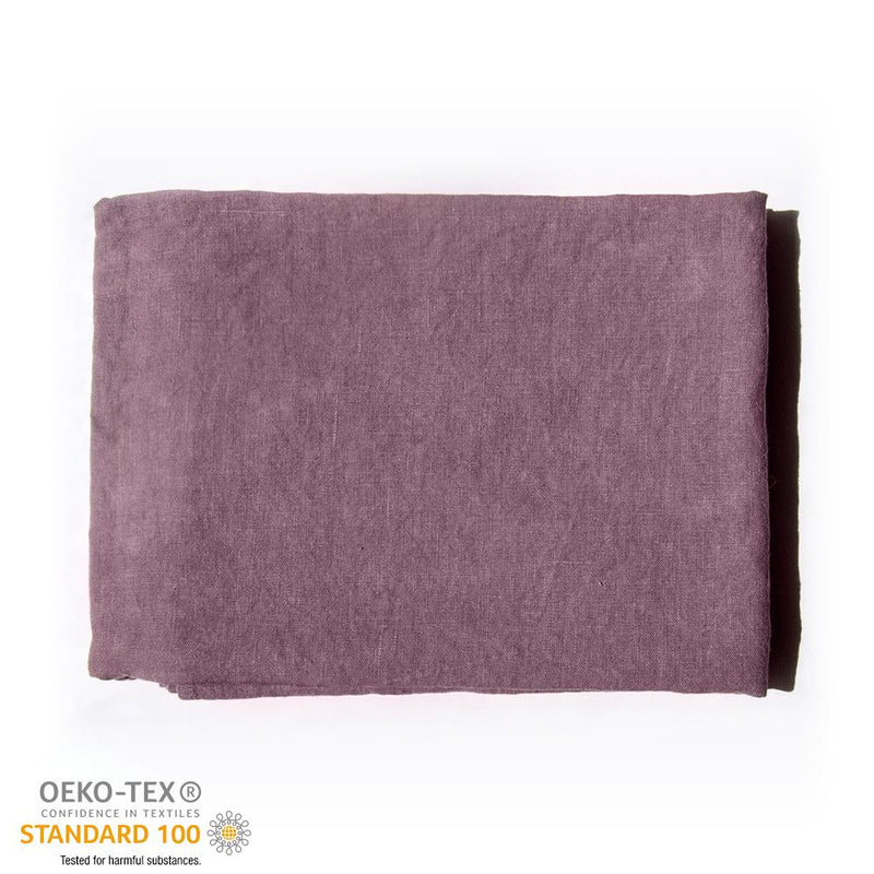 100% Softened Linen Tablecloth, 135 cm x 200 cm, dusty rose