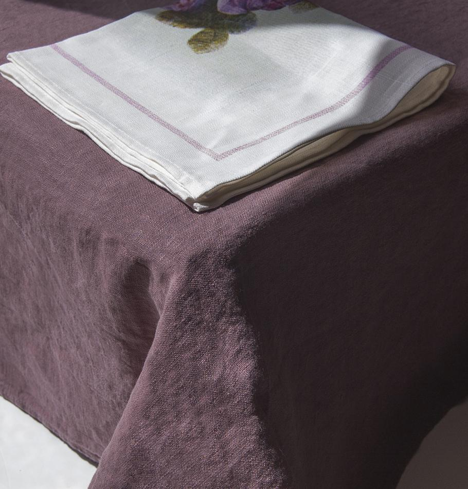 100% Softened Linen Tablecloth 135 cm x 200 cm + Linen Napkins, 4 pc, 45 cm x 45 cm, dusty rose