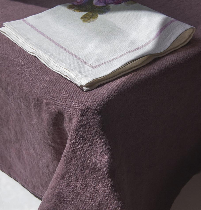 100% Washed Linen Tablecloth + Linen Napkins, 4 pc