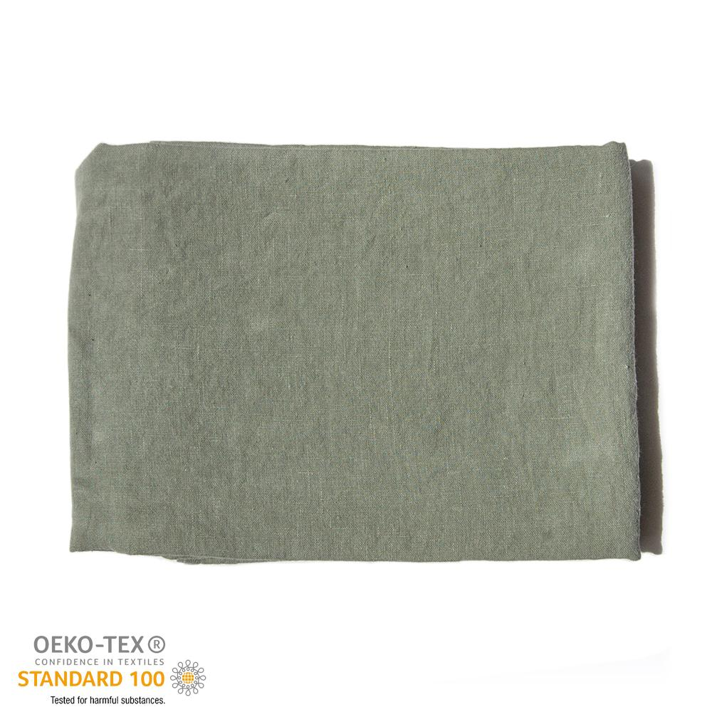 100% Softened Linen Tablecloth, 135 cm x 200 cm, forrest green