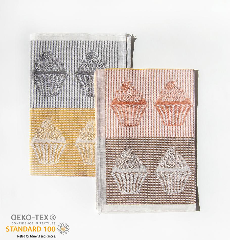 Linen + Cotton Jacquard Tea Towels double-sided 'TEA-PARTY', 2 pc, 49 cm x 70 cm - Treasure Box