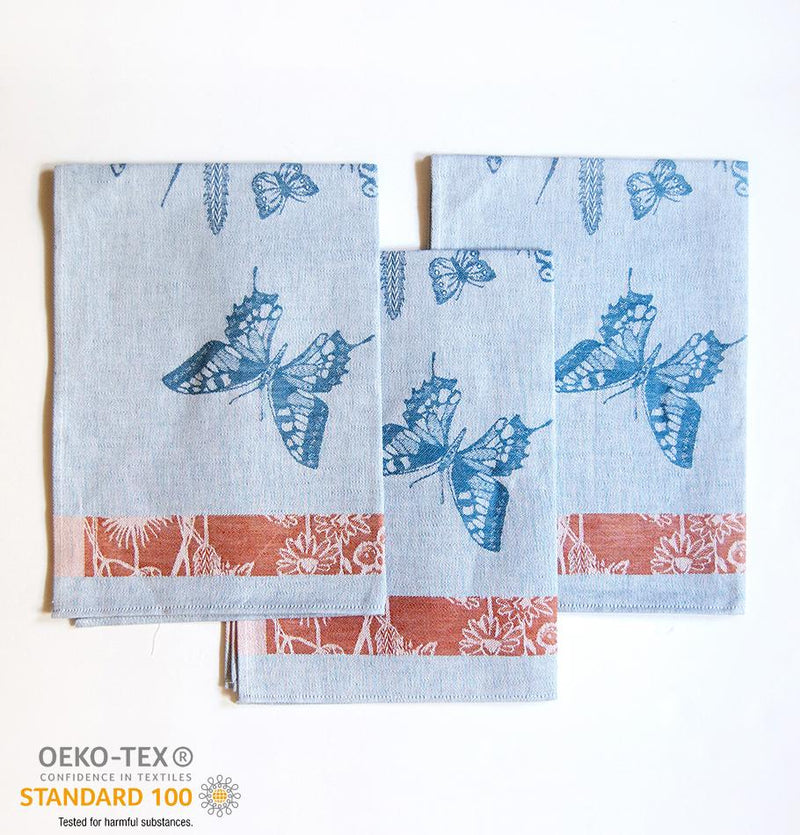 Linen + Cotton Jacquard Tea Towels double-sided 'TEA-PARTY', 3 pc, 49 cm x 70 cm - Treasure Box