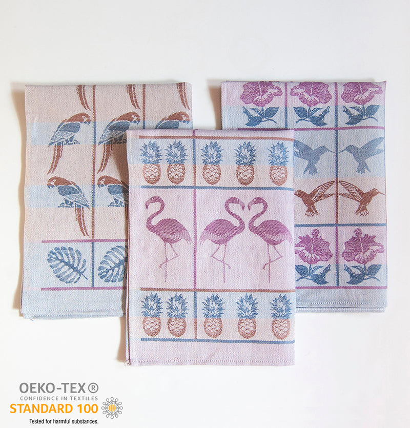 Linen + Cotton Jacquard Tea Towels double-sided 'TEA-PARTY', 3 pc, 49 cm x 70 cm