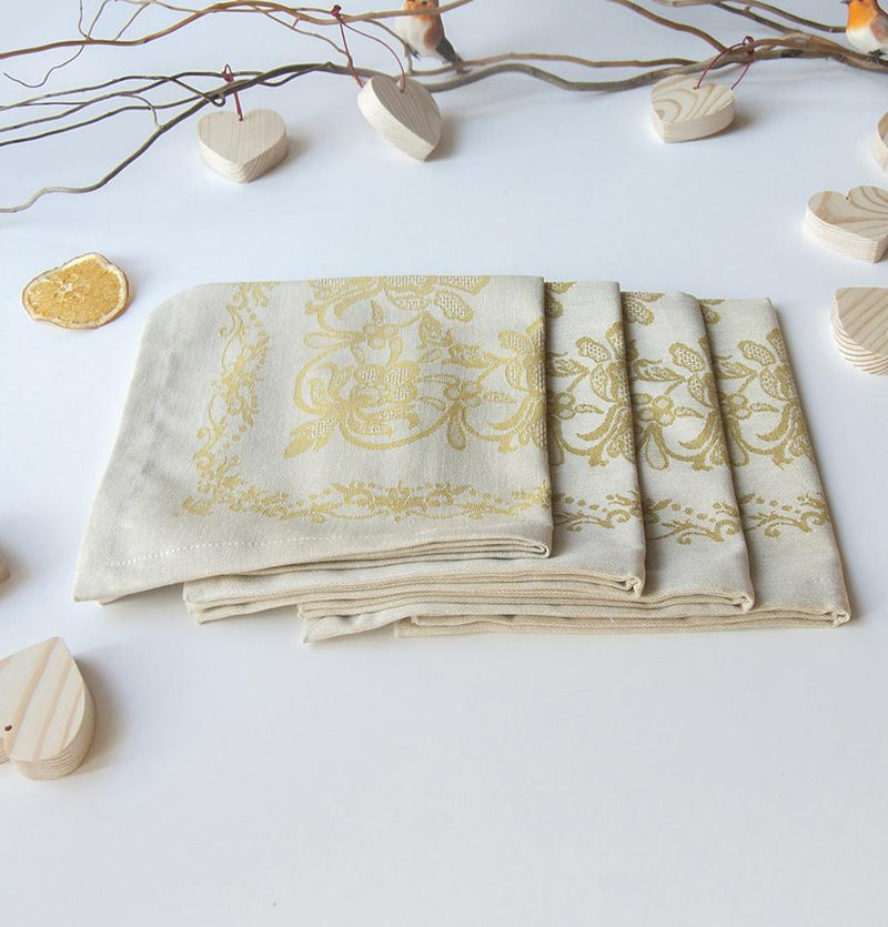 "100% Cotton Jacquard Napkins double-sided, 45 x 45 cm, 4 pc, ""FOREVER & EVER...the weave made"", mustard - Treasure Box"