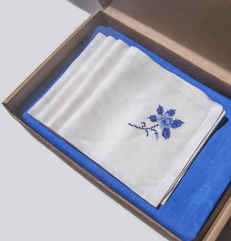 100% Linen Tablecloth, 150 cm x 250 cm, Linen Napkins, 4 pc, 45 cm x 45 cm - Treasure Box