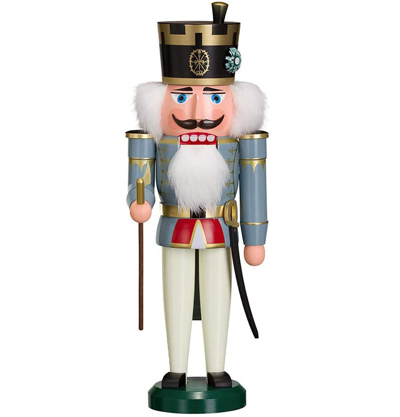 German Nutcracker King, 38 cm, natural wood, original Erzgebirge by Seiffener Volkskunst