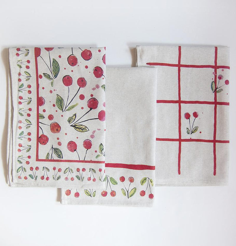 Linen + Cotton Jacquard Tea Towels double-sided 'TEA-PARTY', 3 pc, 50 cm x 70 cm - Treasure Box