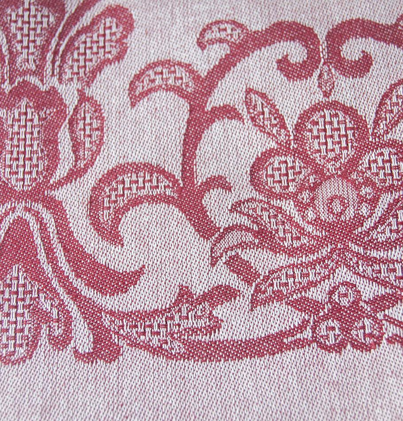 "100% Cotton Jacquard Tablecloth double-sided ""FOREVER & EVER...the weave made"", burgundy - Treasure Box"